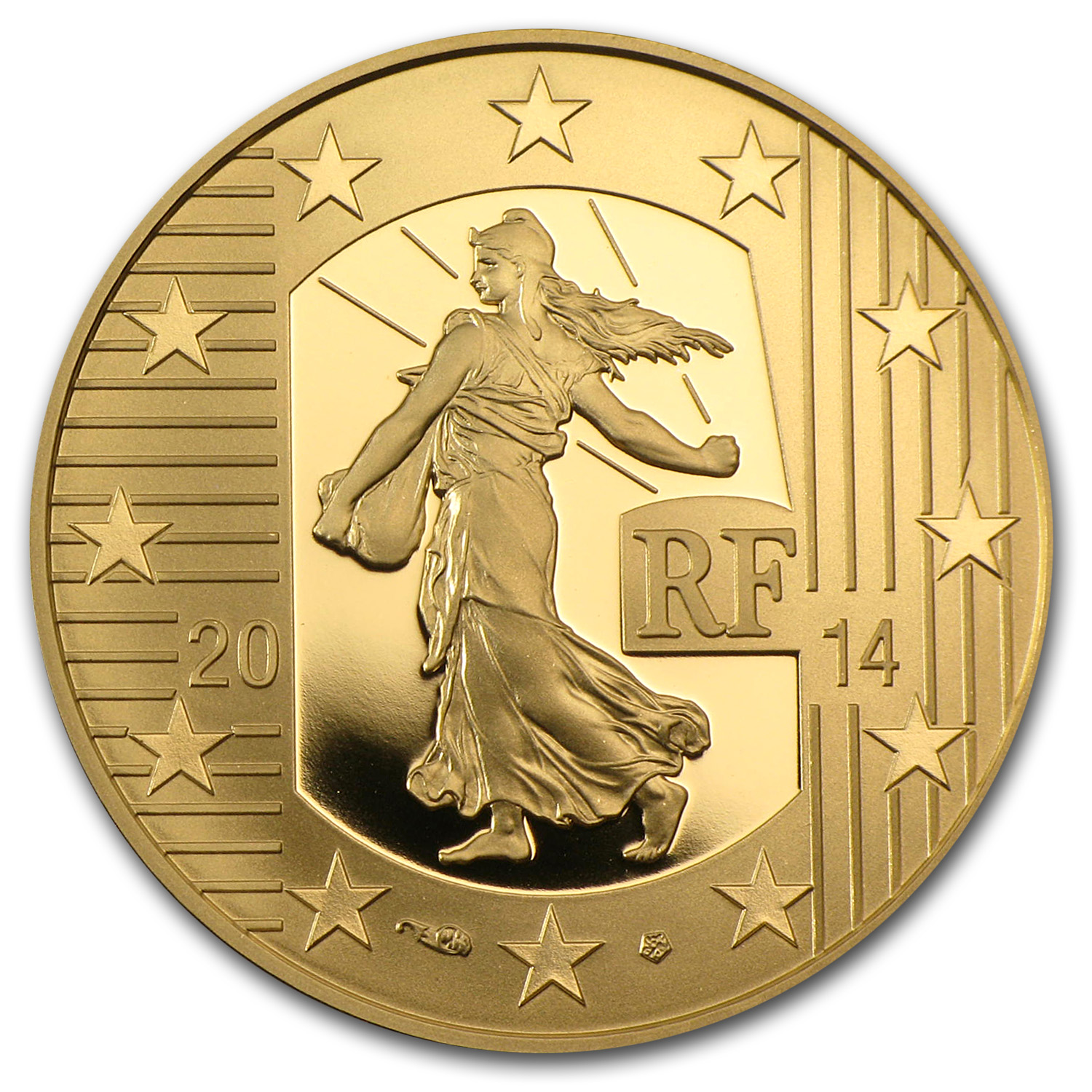 2014 €50 1/4 oz Gold Proof Sower - Denier of Charles the Bald